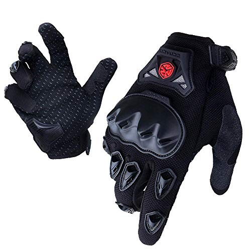 Motorcycle Racing Street Gloves - SCOYCO Men's Trendy Breathable Racing Motorcycle Gloves,Collision Avoidance Reinforced Knuckle Extreme Sports Glove(BLACK,L)