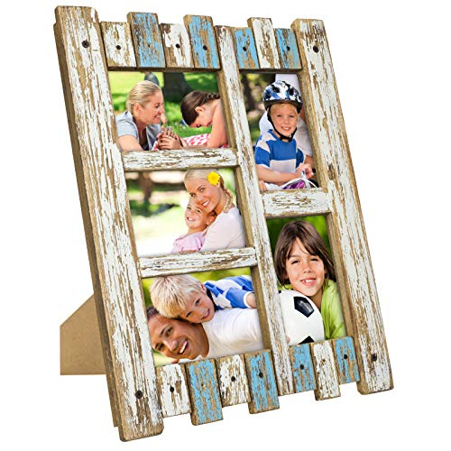 """Excello Global Products Rustic Distressed Wood Frame: Holds Five 4""""x6"""" Photos: Ready to Hang, Shabby Chic, Driftwood, Barnwood, Farmhouse, Reclaimed Wood Picture Frame (Blue & White)"""