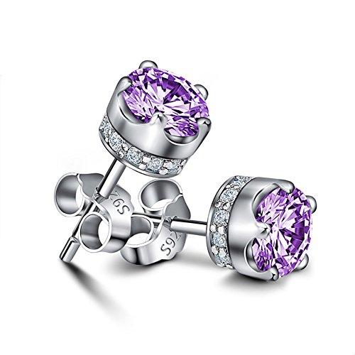 Zirconia Stud Earrings 925 Silver Gold Plated Shiny Crown Ear Cuff for Women (Purple)