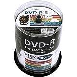 磁気研究所 HI DISC DVD-R データ記録用 16倍速 4.7GB ホワイトプリンタブル ピンドルケース 100枚 HDDR47JNP100
