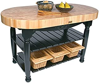 "product image for Boos Maple Harvest Table - 60"" x 30"" Oval - 4"" Thick End-Grain Butcher Block Top, Spicy Latte Base."
