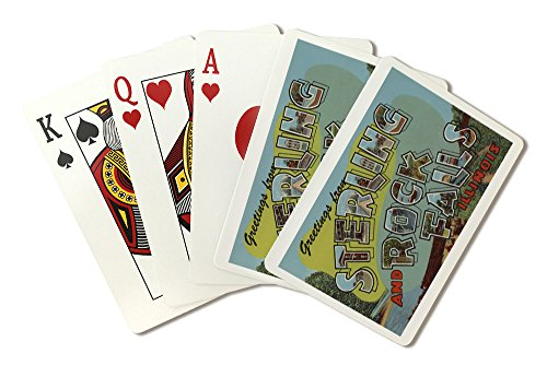 Sterling, Illinois - Rock Falls - Large Letter Scenes (Playing Card Deck - 52 Card Poker Size with Jokers)