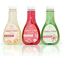 Honest Syrup, Variety Pack. Sugar free, Low Carb, No preservatives. Thick and Rich. Sugar Alcohol free, Gluten Free. 3 Bottles(Vanilla, Peppermint, Raspberry)