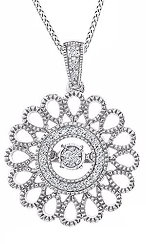 Jewel Zone US White Natural Diamond Etruscan Style Sunburst Pendant Necklace in 14K White Gold Over Sterling Silver (1/8 Ct)