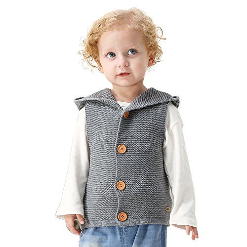 Birdfly Baby Boys Girls Knitted Hoodie Waistcoat Gilet Sweater Vest Toddlers Infants Winter Clothes (12M, Gray)