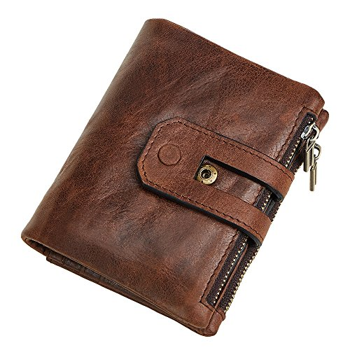Mens Zipper Leather (Men RFID Blocking Wallet, Wraifa Genuine Leather Short Purse Bifold Card Holder (Coffee Men RFID Blocking Wallet))