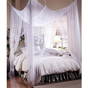 4 Corner Post Bed Canopy Mosquito Net Full Queen King Size Netting Bedding White & Amazon.com: 4 Corner Post Bed Canopy Mosquito Net Full Queen King ...