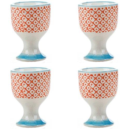(Nicola Spring Patterned Egg Cups - Orange/Blue Print Porcelain Breakfast Set - Pack of 4)