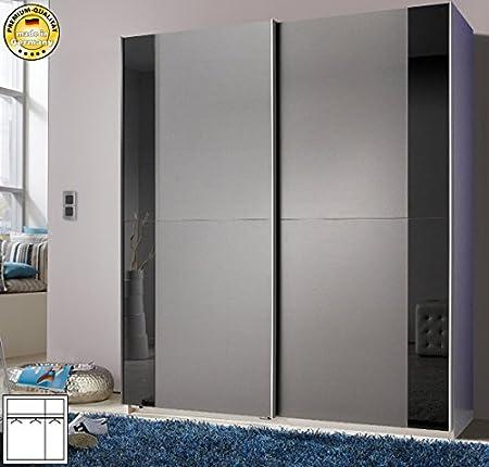Armario de puertas correderas armario 841153 alu/de cristal negro antracita 135 cm: Amazon.es: Hogar