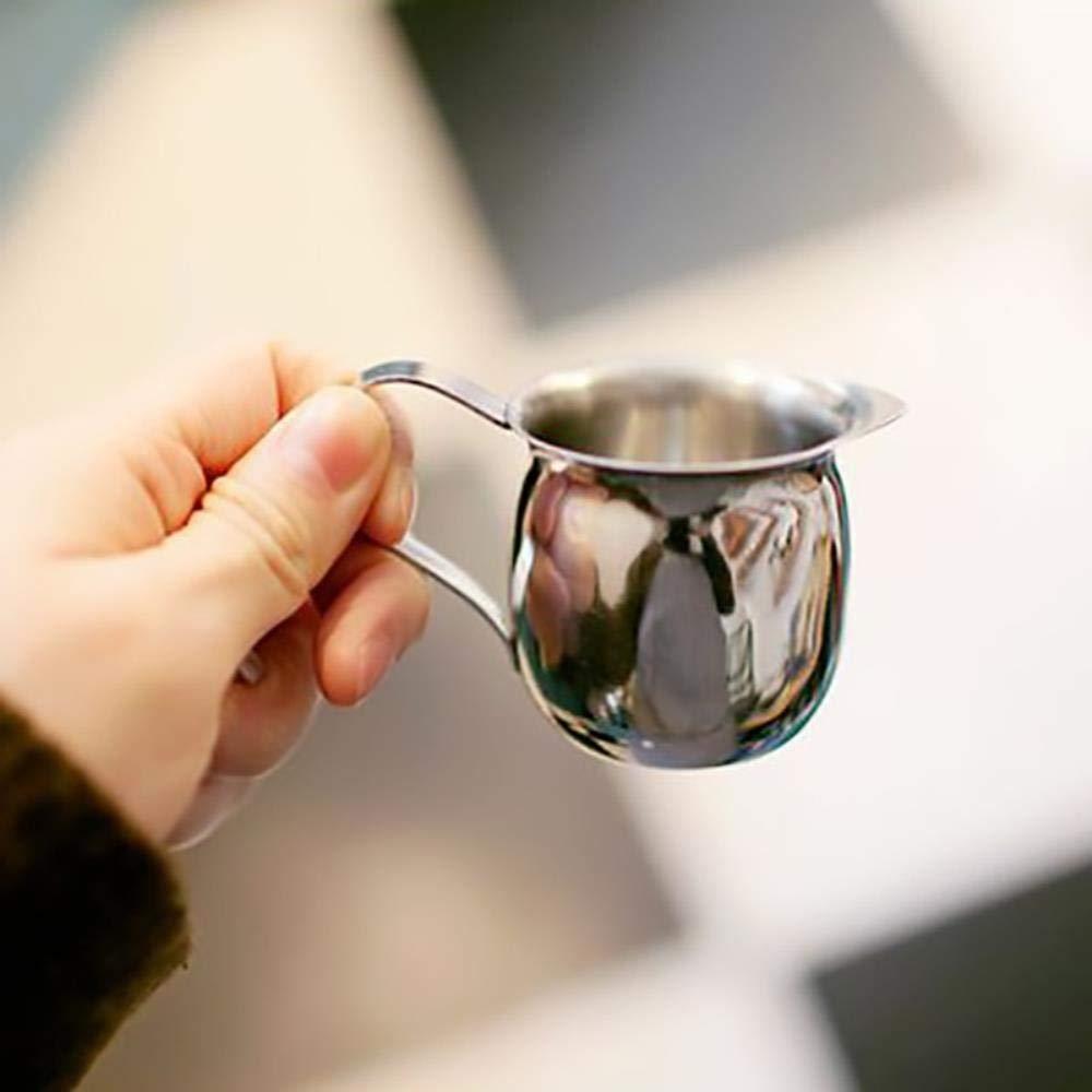 KOIYOI Mini Jarra de Leche Jarra de Espuma de Leche de Acero Inoxidable Jarra de Flores Taza de Crema Taza de caf/é Espumadores de Leche Botella de Jarra de Espuma L