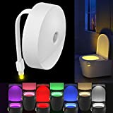 3 3 8 clock insert - Motion Sensor Toilet Night Light, Oenbopo 8 Colors Changing Human Body Auto Motion Activated Toilet Seat Tolet Bowl Nightlight with 2 Advanced LED Lights Beads for Bathroom, Washroom