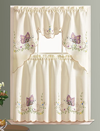 DANCING BUTTERFLY. 3pcs Multi-color embroidery kitchen curtain/ cafe curtain set with cutworks. (LAVENDER)