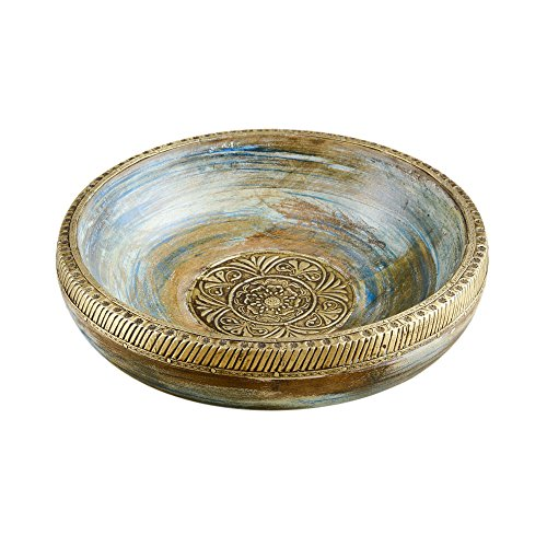 Rusticity Wood Decorative Bowl/Serving Bowl/Key Bowl/Rustic Fruit Bowl | Mango Wood | Premium Quality | Handmade | (10 inch) ()