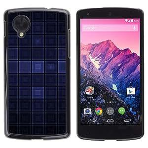 TECHCASE**Cubierta de la caja de protección la piel dura para el ** LG Google Nexus 5 D820 D821 ** Blue Dark Modern Wallpaper Checkered Square
