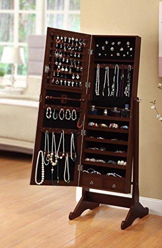 Btexpert® Stylish Wooden Jewelry Armoire Cabinet Stand Organizer Storage Box Case Cheval Mirror - Cherry by BTEXPERT