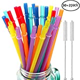 "32 Pieces Reusable Plastic Straws Fit for Mason Jars, Tumblers, BPA-FREE, 10.25"" Extra Long Rainbow Colored unbreakable Drinking straws with 2 Cleaning Brushes- Eco-friendly"