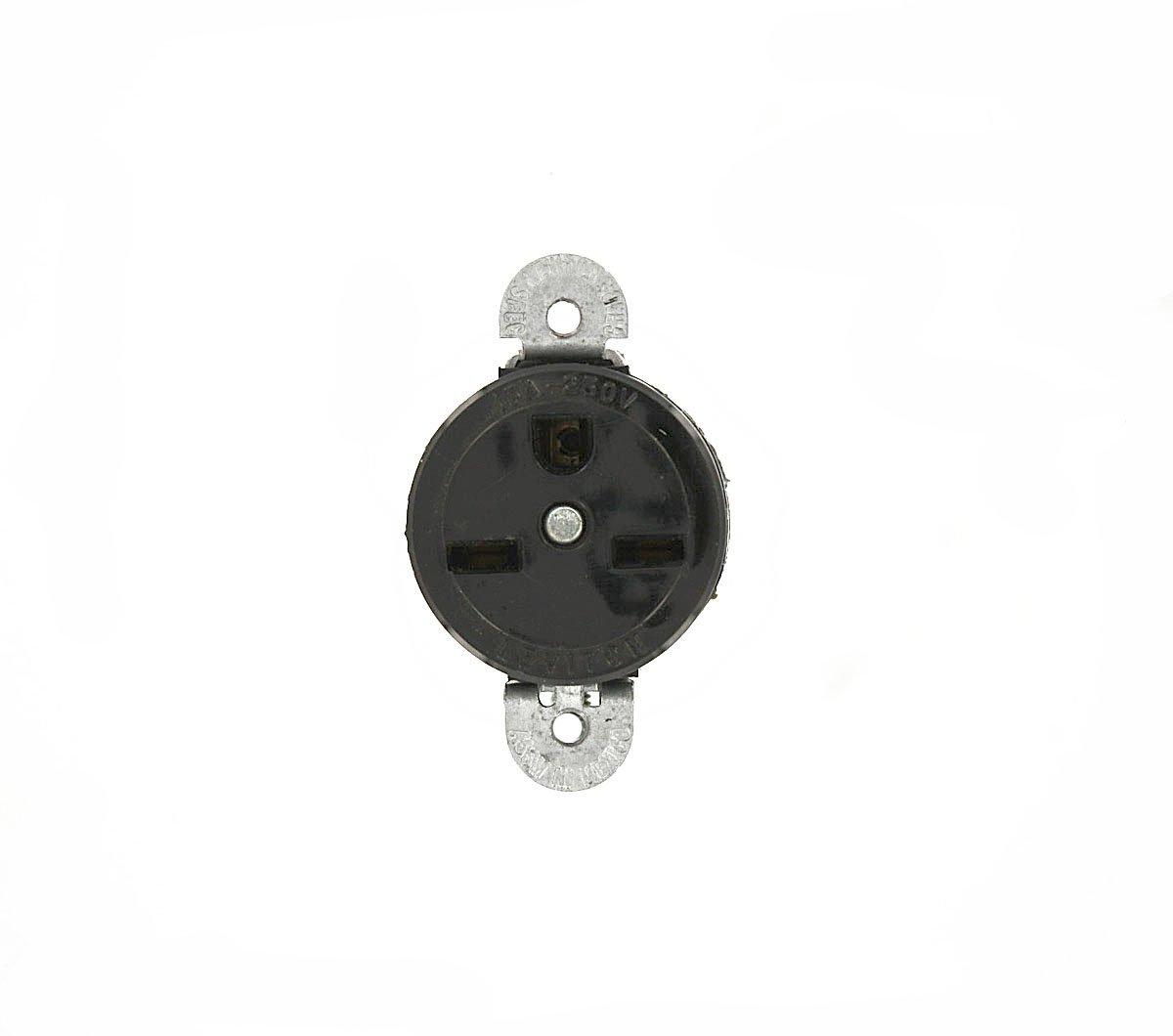 Leviton 5658-SS 15 Amp, 250 Volt, Short Strap Single Receptacle, Straight Blade, Commercial Grade, Grounding, Black