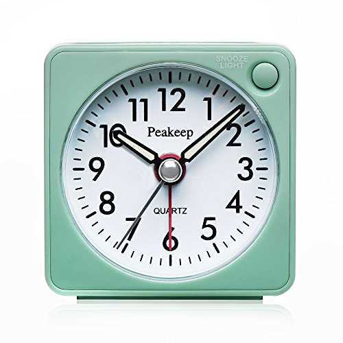(Peakeep Ultra Small, Battery Travel Alarm Clock with Snooze and Light, Silent with No Ticking Analog Quartz (Aquamarine))