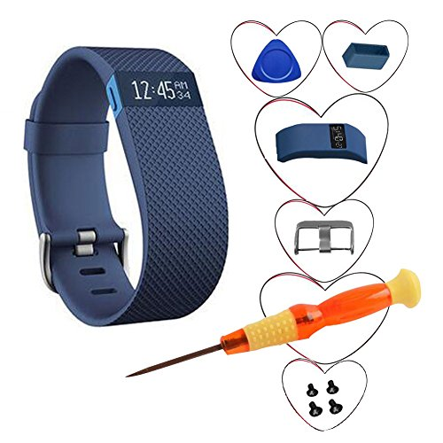 Fnms Replacement Bands for Fitbit Charge HR Band, TPU Replacement Large Band Bracelet Strap for Fitbit Charge HR Wireless Activity Wristband with Tools (Blue, Large (6.2″-7.6″)) Review