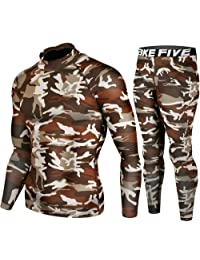 Skin Tight Compression Base Layer Long Sleeve Under Shirt & Pants Camo Pattern SET