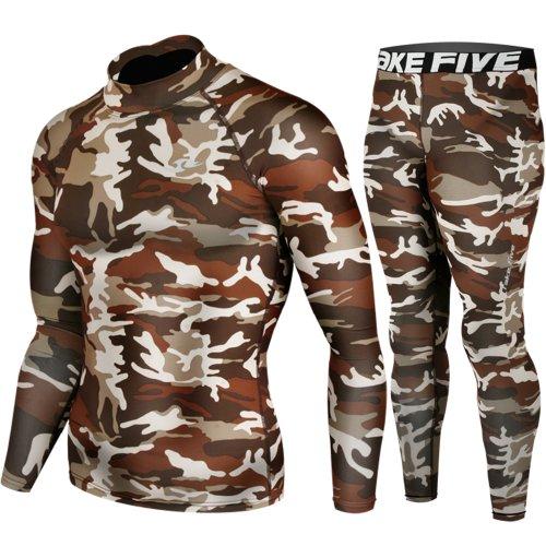 Skin Tight Compression Base Layer Long Sleeve Under Shirt & Pants Camo Pattern SET (Pattern Pants Shirt)