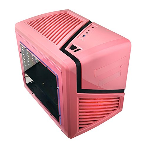 APEVIA X-QBER-PK Micro ATX Cube Gaming/HTPC Case, Supports VGA up to 320mm/ATX PS, 2 x Windows, USB3.0/USB2.0/HD Audio/SD/Micro SD Ports, 1 x 140mm Red LED fan, Flip Open Design, Dust Filter – Pink