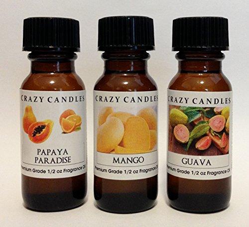 Mango Papaya Fragrance (3 Bottles Set, 1 Papaya Paradise, 1 Mango, 1 Guava 1/2 Fl Oz Each (15ml) Premium Grade Scented Fragrance Oils By Crazy Candles)