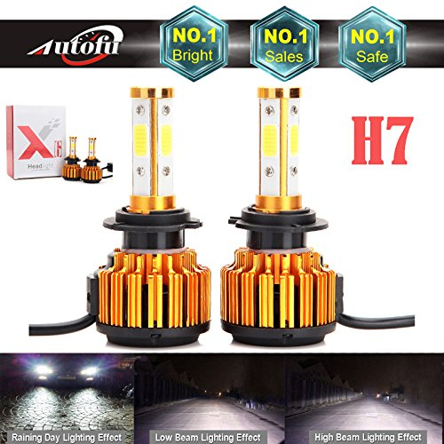 2018 Newest Car H7 LED Headlight Bulb 12000LM 4-Side HighBeam / Low Beam Super Bright - 6000K Pure Cool White Plug n Play Fog/Head Light Replacement
