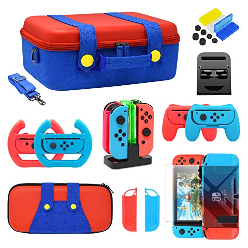 Accessories Kit Bundle for Nintendo Switch, FYOUNG Travel Case Carrying Case Cover Case Hand Grips Controller Charger Steering Wheel Game Card Case Compatible for Your Switch and Joy- con(21 in 1)