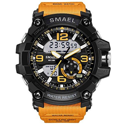PALADA+Men%27s+Military+Sport+Wrist+Watch+Quartz+Dual+Movement+with+Analog-Digital+Display+Watches+for+Men+%28Orange%29