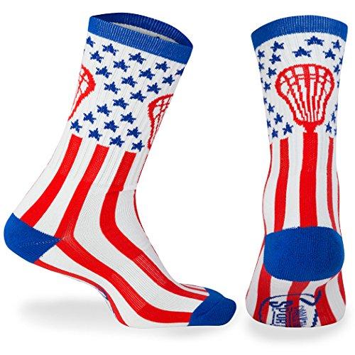 Chalk talk sports Athletic Half Cushioned Crew Socks, Mid Calf, American Lax Socks, Red/White/Blue one size - Team Usa Lacrosse Hoodie