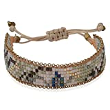 Joop Joop Handmade Crystal Camo Boho Beaded Single Wrap Cuff Bracelet with Slider Opening