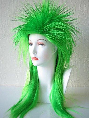 OvedcRay Punk Rocker Pop Spiky Spike Emo 80S 80'S Elvira Costume Wig Black Green Red - Elvira Costume Size 14