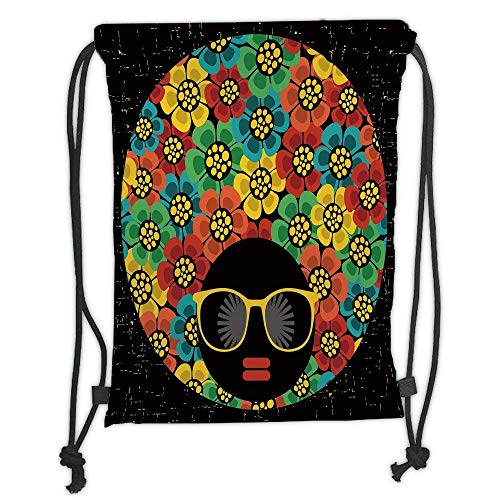 Custom Printed Drawstring Backpacks Bags,70s Party Decorations,Abstract Woman Portrait Hair Style with Flowers Sunglasses Lips Graphic Decorative,Multicolor Soft Satin,5 Liter -