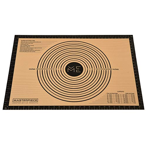 Extra Large Silicone Baking Mat with measurements 28″ 20″ by Masterpiece Elite Durable Fiberglass - Nonstick Nonslip and Versatile - Dough rolling - Easy to Stock