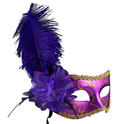 [Clearbridal Women's Venetian Purple Masquerade Mask With Feathers CMJ024PL] (Purple Feather Mask)