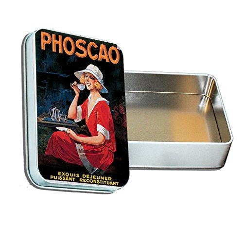 Hot Tea Vintage Picture Decorative Metal Tin Trinket Box 2.75