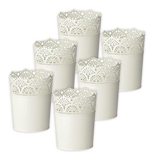 6x IKEA SKURAR Pflanztopf weiß, 10,5 cm Blumen Topf Pflanzen