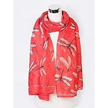 Charming Ladies Women's Dragonfly Print Scarf Shawl Wrap Neck-Wrap Sarong Coral