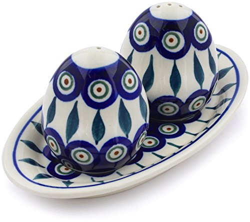 (Polish Pottery 7¼-inch Salt and Pepper Set (Peacock Leaves Theme) + Certificate of Authenticity)