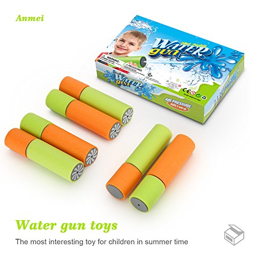 Anmei Mini Super Soaker Foam Pocket Water Guns (6 Pack) Toys For Kids Summer Swimming Pool Game Beach Sand Water Blaster Toy