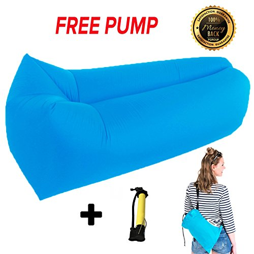 Inflatable Lounger Couch Air Sofa Chair - FREE PUMP -Ideal for Indoor/Outdoor Hangout Sofa Bag 2017,Camping,Hiking Picnics & Swimming Pool - Lounge Chair with Handy Storage Bag - Inflatable Air - Caravan Sizes Uk