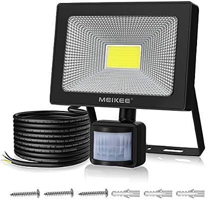 50W Foco LED con Sensor de Movimiento, MEIKEE Luz Led Exterior 5000lm Super Brillante, Proyector Led Exterior IP66 Impermeable, Foco LED Detector para Jardín, Patio, Garaje- Blanco Frío(6500K): Amazon.es: Bricolaje y herramientas