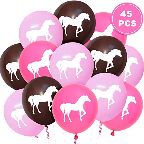 Kreatwow 45 Pcs Horse Party Balloons for Western Cowgirl Party Decorations and Supplies, Horse Baby Shower (Supplies Pink Birthday Cowgirl)