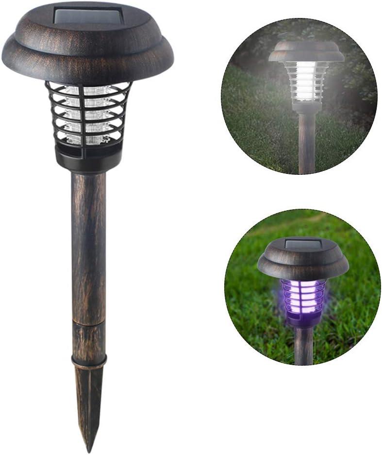 Lixada Lámpara de Asesino de Mosquito Solar al Aire Libre IP65 Trampa de Insectos Anti-mosquitos Resistente al Agua Bug Zapper Repelente de Plagas para Jardín Patio de Césped