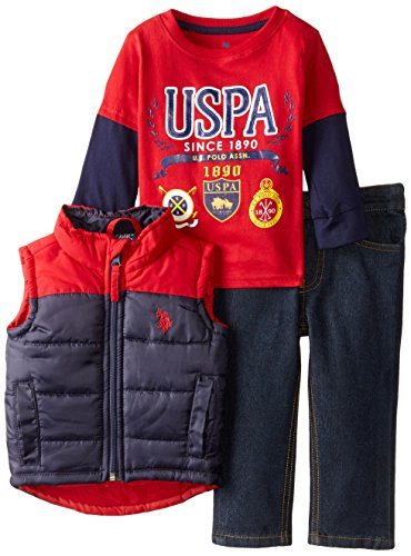 U.S. Polo Assn. Baby Boys' Hangdown, Puffer Vest, and Denim Jean Set