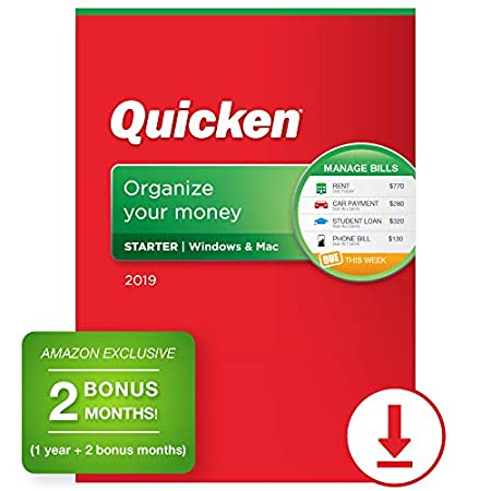 Quicken Starter 2019 Personal Finance Software 1-Year + 2 Bonus Months [Amazon Exclusive] [PC/Mac Online Code]