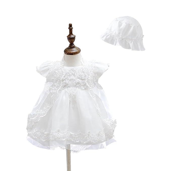 Harson&Jane Niñas bebé bautizo Vestido de fiesta de boda de tul vestido de bautizo con sombrero
