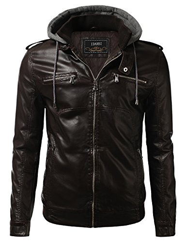IDARBI Men's Premium Pu Leather Motorcycle Bomber Jacket with Detachable Hood BROWN 2XL (2xl Brown Leather Jacket)