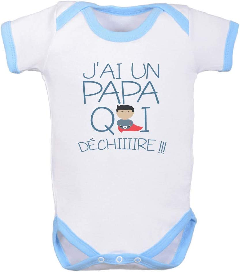 Bodies Papa 0//3 Mois bodybebepersonnalise.fr Body Super h/éros Papa 0 /à 24 Mois T Blanc//Bleu j/'AI Un Papa Qui d/échire Rouge